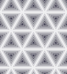 Seamless monochrome geometric background with striped triangles
