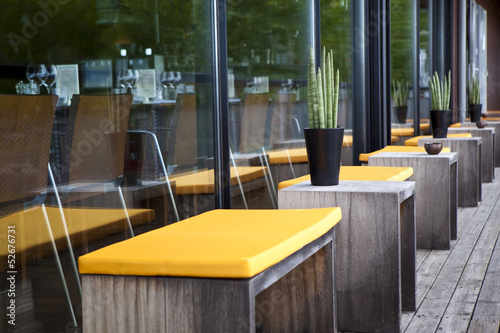 Terrasse, restaurant, patio, mobilier, décoration, bois\