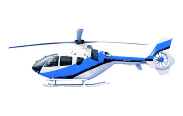 Poster Helicopter blue helicopter isolated white