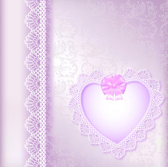 background with a satin bow and a heart