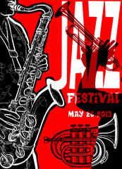 Aluminium Prints Music Band Jazz poster with saxophonist