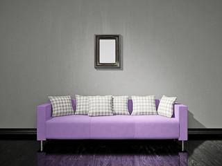 Violet sofa near the wall
