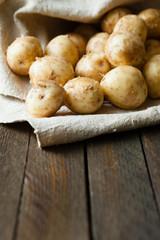 Fresh unpeeled baby potatoes