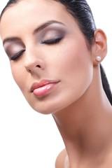 Closeup beauty portrait of attractive female model