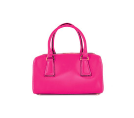 Pink women bag isolated on white background