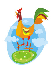 Colorful rooster. Vector illustration.