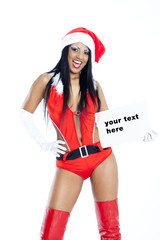 Woman wearing sexy christmas outfit