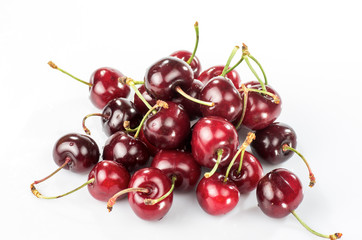 newly harvested red cherries