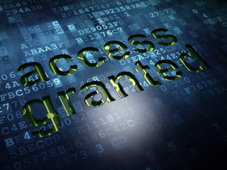 Safety concept: Access Granted on digital screen background