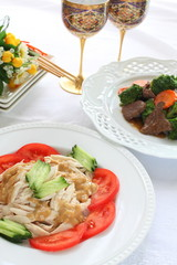 chinese cuisine, sesame chicken and cucumber salad