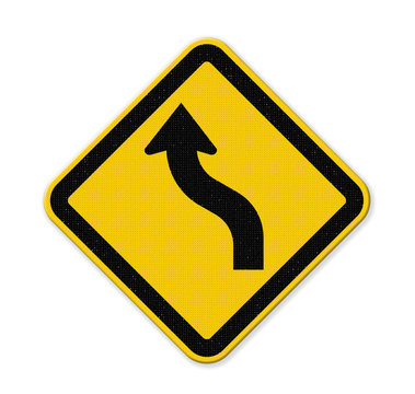 Yellow traffic sign curved warning