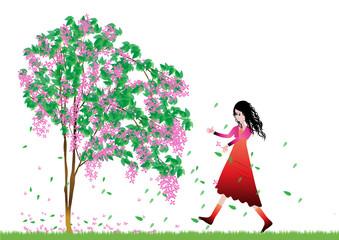 Beautiful girl and tree