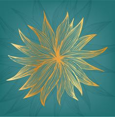 Golden linear isolated flower