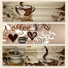 Coffee brochures with cups and grains  for design