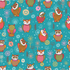 Floral seamless pattern with owls