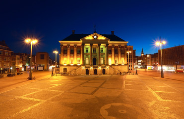 Wall Mural - City Hall in Groningen at night