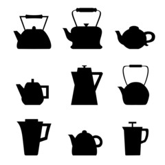 Set of different teapots. Kettles icons