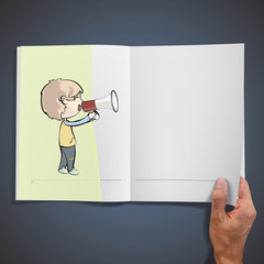 Young kid shouting with megaphone inside a book