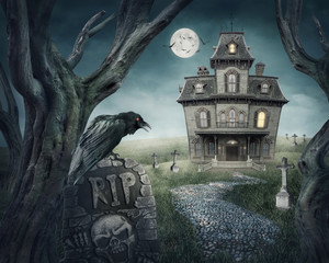 Poster Pleine lune Haunted house