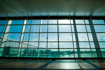 glass wall in the airport, abstract business interior