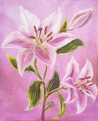 Pink Lily. Oil painting on canvas.