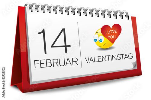 kalender 14 februar valentinstag liebe herz smilie smiley. Black Bedroom Furniture Sets. Home Design Ideas