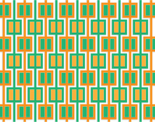 Fototapeta Abstract pattern of orange and green squares