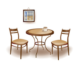 illustration  of the round  table and chairs