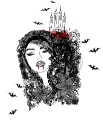 abstract portrait of a beautiful female vampire