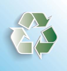 Recycling Symbol Label Peeling Away