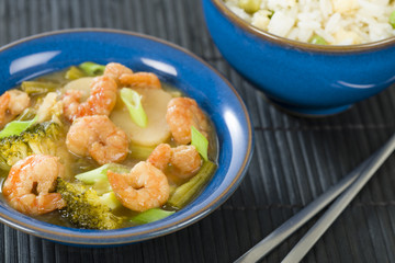 Chinese prawns with ginger and spring onion and egg fried rice
