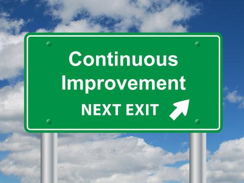 CONTINUOUS IMPROVEMENT NEXT EXIT Sign (efficiency quality lean)