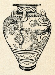 Mycenaean  amphora, decorated with cuttlefish