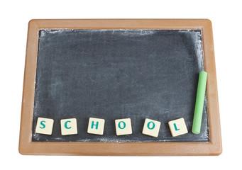 Blackboard and chalk for the written word school.