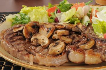 Juicy grilled rib steak