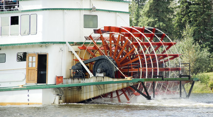 Stern-wheeler Churning Moves Riverboat Paddle Steamer Vessel