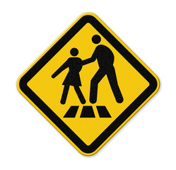 cross walk sign on a busy street with