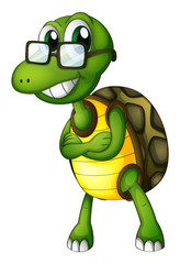 A turtle standing with an eyeglass