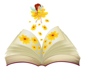A book with a fairy and flowers