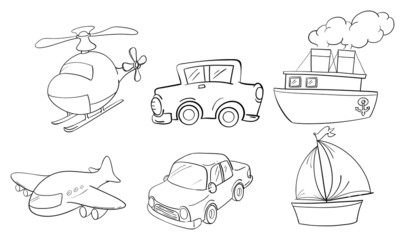 Doodle design of land, air and water transportations