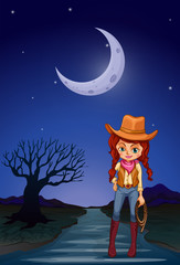A cowgirl at the road in the middle of the night