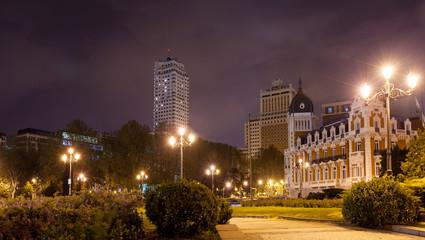 Night view of Spain Square -  Madrid, Spain