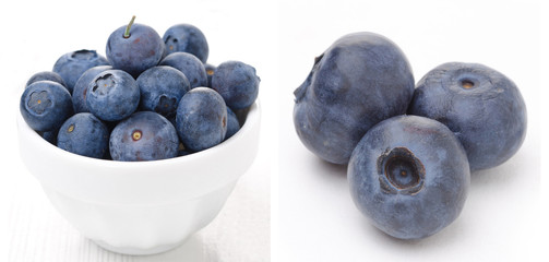 collage with fresh blueberries