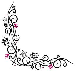 Ranke, floral, Blumen, Blüten, Tattoo Style