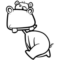 coloring humor cartoon hippo running with white background