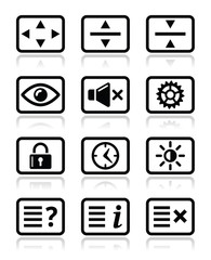 Computer tv monitor screen icons set
