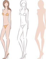 Vector illustration of woman in swim suit