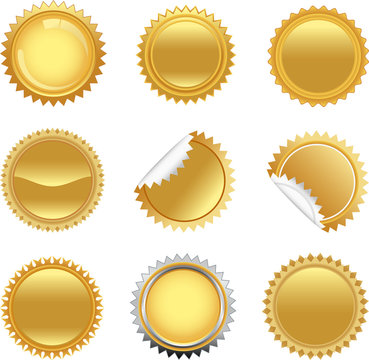 Golden starbursts set. To see the other vector starburst illustrations , please check Badge and Label collection.