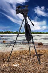 video camera in a coral reef at low tide