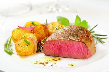 Delicious rare fillet steak